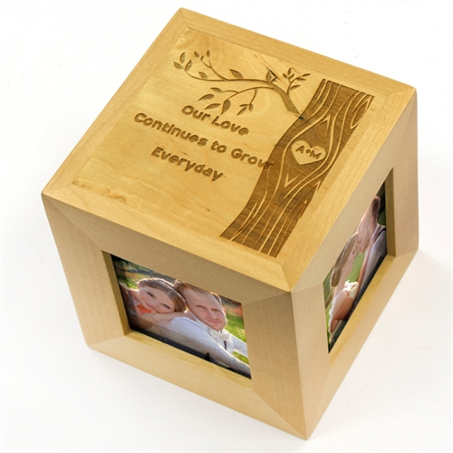 Engraved Enchanting Romance Wood Photo Cube