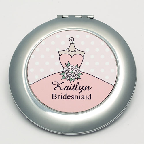 Personalized Bride, Pink Polka Dot Round Make Up Mirror