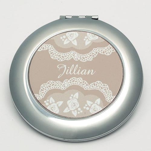 Personalized Elegant Lace Round Make Up Mirror