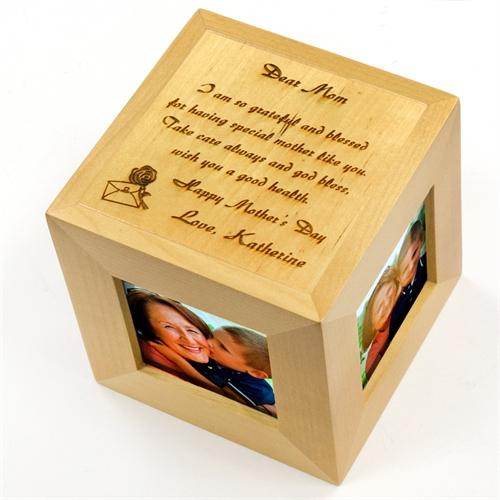Engraved Dear Mom Wood Photo Cube
