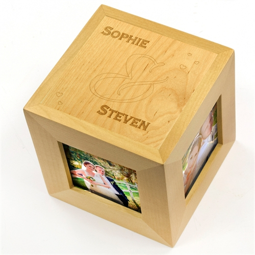 Floating Hearts Personalized Engraved Wooden Photo Cube