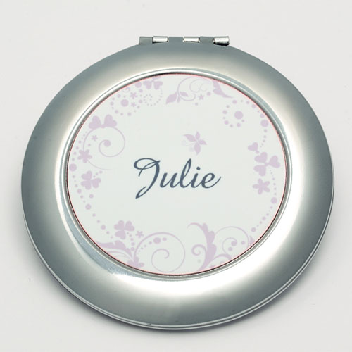 Personalized Pink Floral Round Make Up Mirror