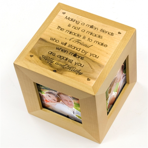 Engraved Little Hearts Wood Photo Cube