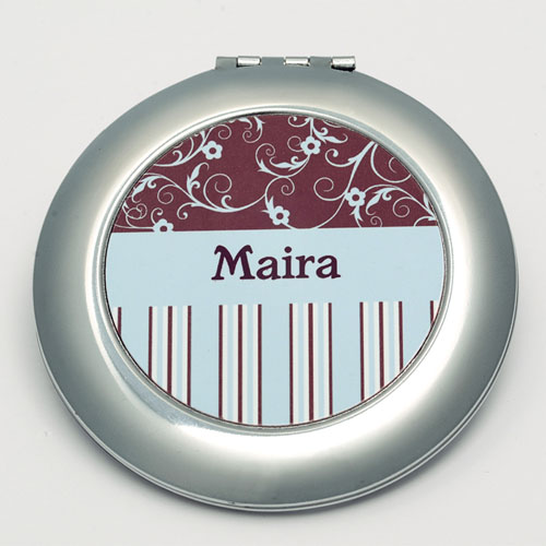 Personalized Floral Stripes Round Make Up Mirror