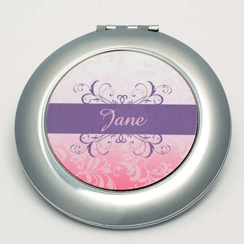 Personalized Red Floral Round Make Up Mirror