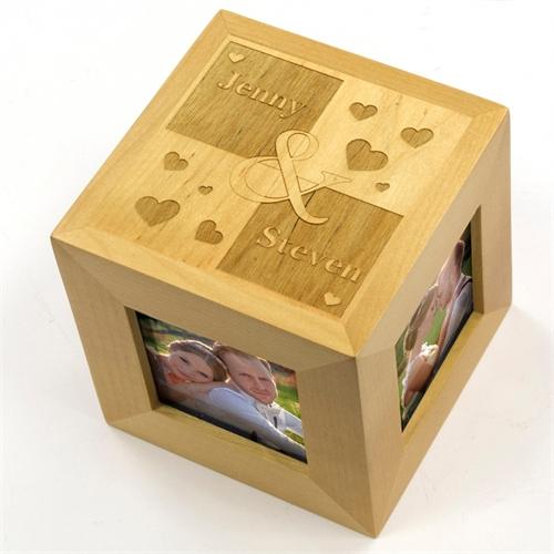 Engraved Sweet Heart Wood Photo Cube
