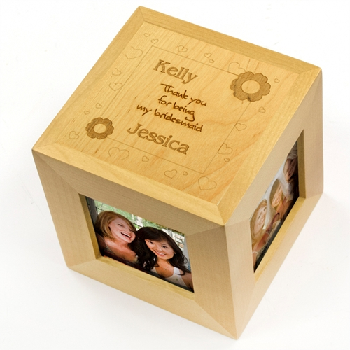 Thank You Bridesmaid Personalized Engraved Wooden Photo Cube