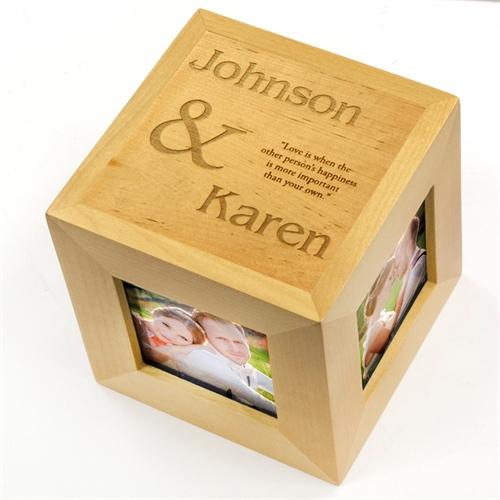 Engraved Elegant Expression Wood Photo Cube