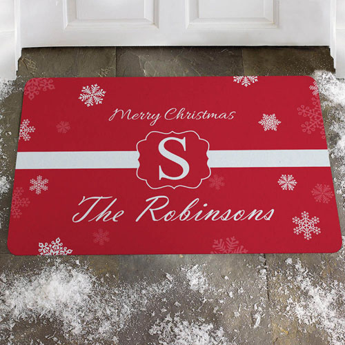 Create Your Own Snowflake Merry Christmas Door Mat