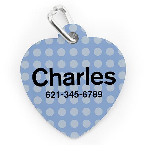 Custom Printed Blue Polka Dot, Heart Shape Dog Or Cat Tag