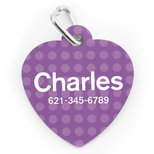Custom Printed Lavender Polka Dot, Heart Shape Dog Or Cat Tag