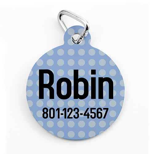 Custom Printed Blue Polka Dot, Round Shape Dog Or Cat Tag