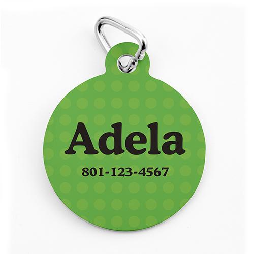 Custom Printed Green Polka Dot, Round Shape Dog Or Cat Tag