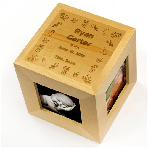 Engraved Pure Perfection Wood Photo Cube