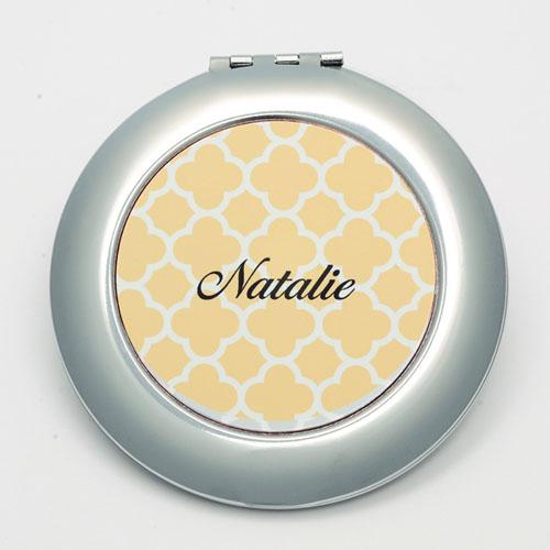 Personalized Orange Quatrefoil Round Make Up Mirror
