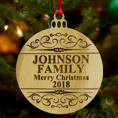 Merry Christmas Personalized Wood Round Ornament