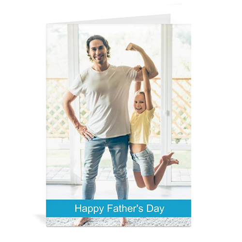 Custom Printed Father's Day, Sky Blue Greeting Card