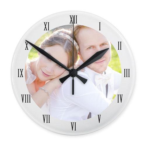White Frame Personalized Acrylic Clock Custom Printed