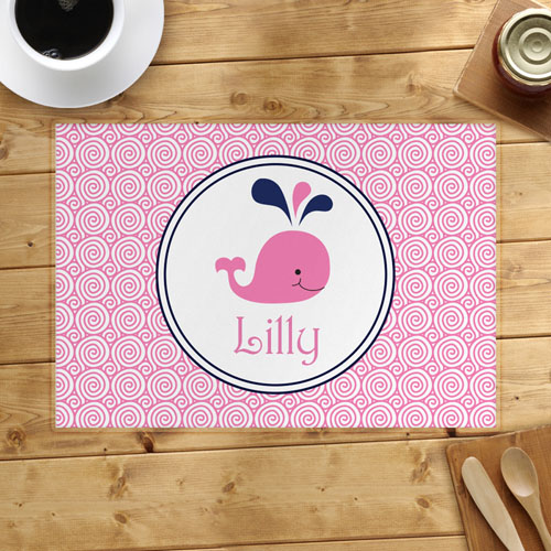 Personalized Pink Whale Placemats