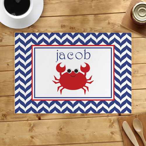 Personalized Chevron Red Crab Placemats
