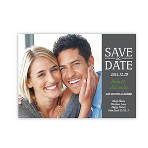 Personalized Our Day, Classic Grey Save The Date Invitation Cards