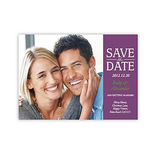 Personalized Our Day, Classic Purple Save The Date Invitation Cards
