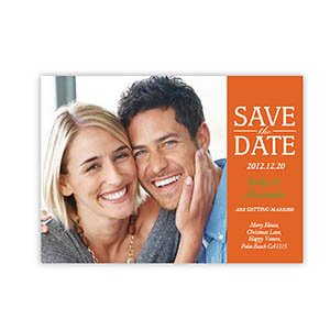 Personalized Our Day, Classic Orange Save The Date Invitation Cards
