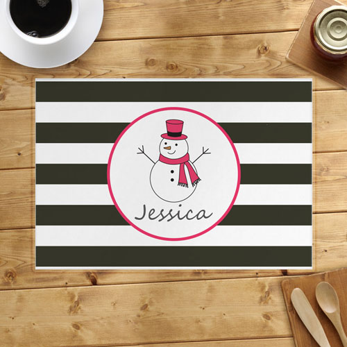 Personalized Snowman, Girl Placemats