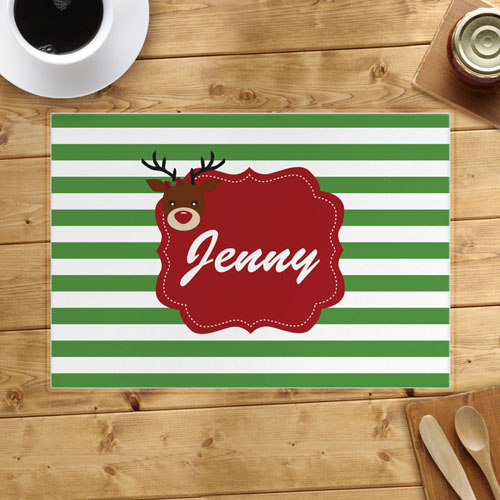 Personalized Reindeer, Girl Placemats