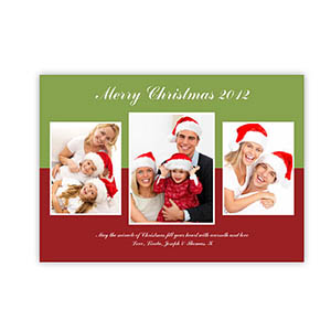 Personalized Merry Modern Collage Green Christmas Party Invitation Cards