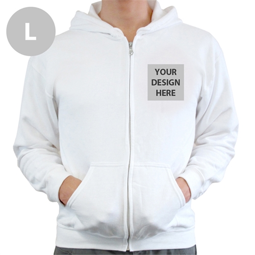 Custom Imprint Full Color Zippered Hoodie, Large White