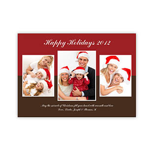 Personalized Merry Modern Collage Red Christmas Party Invitation Cards