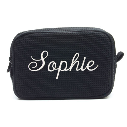 Embroidered Name Black Cotton Waffle Weave Makeup Bag