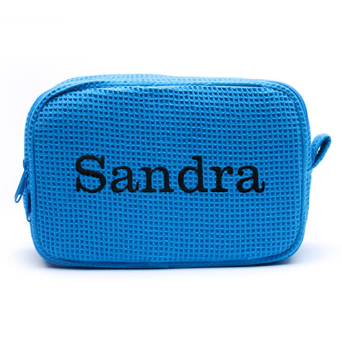 Embroidered Name Turquoise Cotton Waffle Weave Makeup Bag