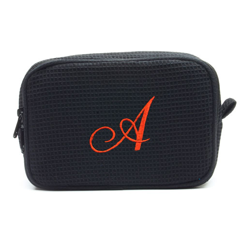 Embroidered One Initial Black Cotton Waffle Weave Makeup Bag