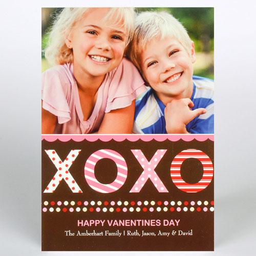 Xoxo Personalized Photo Valentine Card, 5X7 Flat