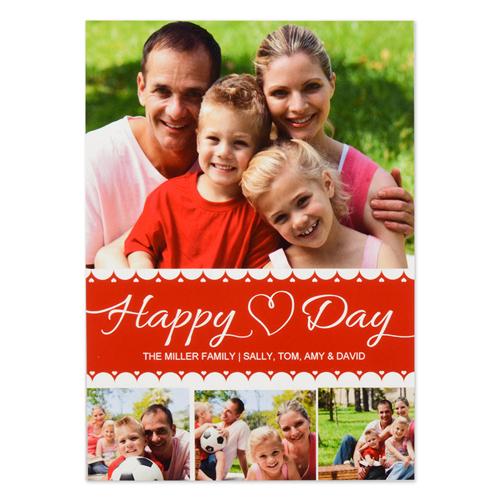 Happy Heart Day Personalized Photo Valentine Card, 5X7 Flat