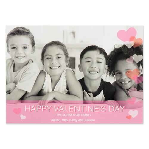 Confetti Hearts Personalized Photo Valentine Card, 5X7 Flat