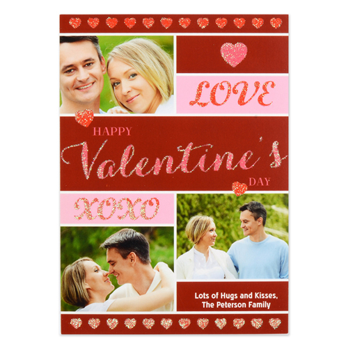 Doodle Hearts Personalized Photo Valentine Card, 5X7 Flat