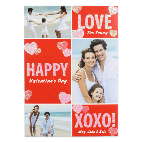 Real Glitter Candy Hearts Personalized Photo Valentine Card, 5X7 Flat