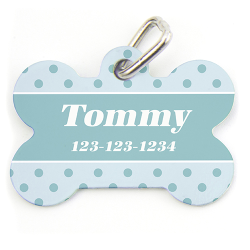 Sky Small Polka Dot, Bone Personalized Dog Tag