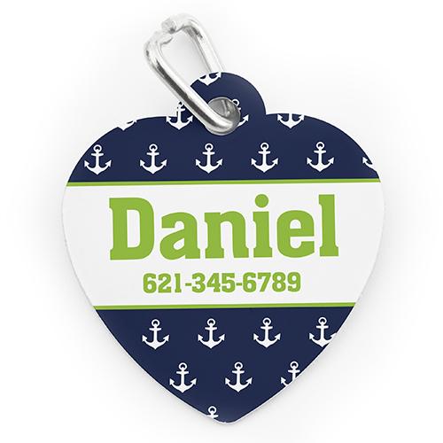 Custom Printed Navy Anchor, Heart Shaped Dog Or Cat Tag