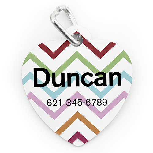 Custom Printed Colorful Chevron, Heart Shaped Dog Or Cat Tag