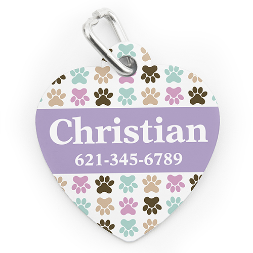 Custom Printed Colorful Paw, Heart Shaped Dog Or Cat Tag