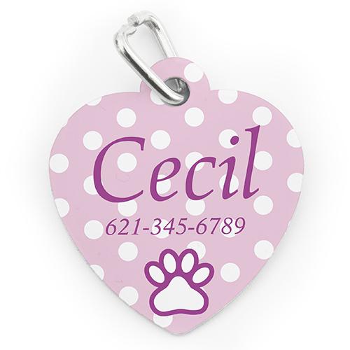 Custom Printed Baby Pink Polka Dot, Heart Shaped Dog Or Cat Tag