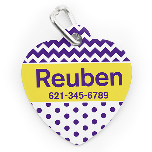 Custom Printed Purple Chevron Polka, Heart Shaped Dog Or Cat Tag