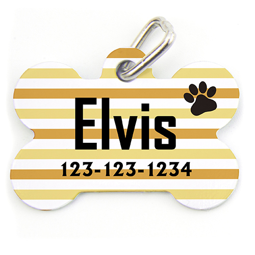 Orange Stripe Paw Personalized Dog Tag
