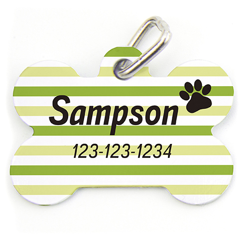 Lime Stripe Paw Personalized Dog Tag