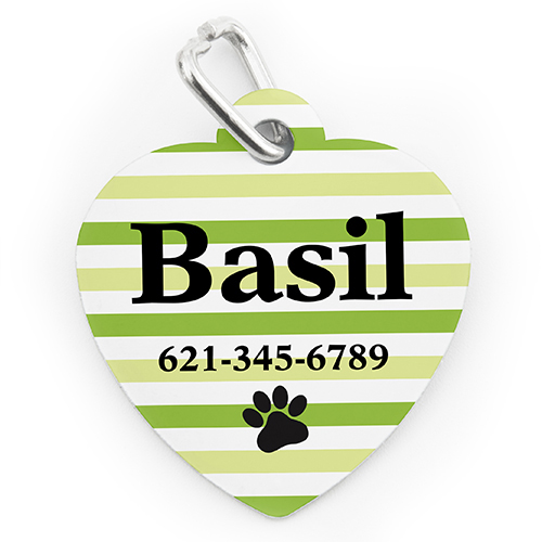 Custom Printed Lime Stripe Paw, Heart Shaped Dog Or Cat Tag