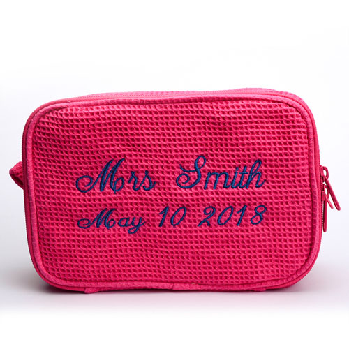 Two Text Line Embroidered Cotton Waffle Cosmetic Bag, Pink